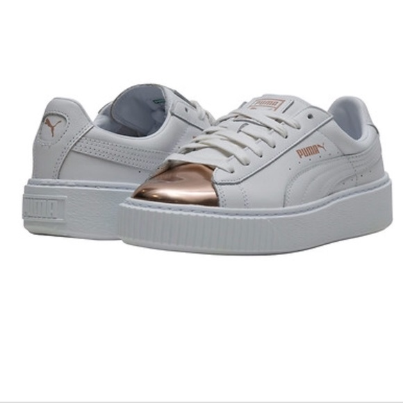 online store 9a869 3d644 Puma Basket White Metallic Rose Gold Sneakers New NWT